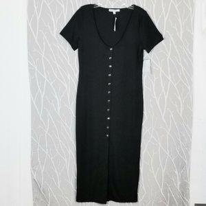 Velvet Torch   Black Ribbed Snap Front Long Dress